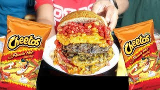 Flamin Hot Cheetos Mac And Cheese Burger
