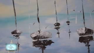 Repeat youtube video Maria Pas   Marina con veleros en acrilico y espatula
