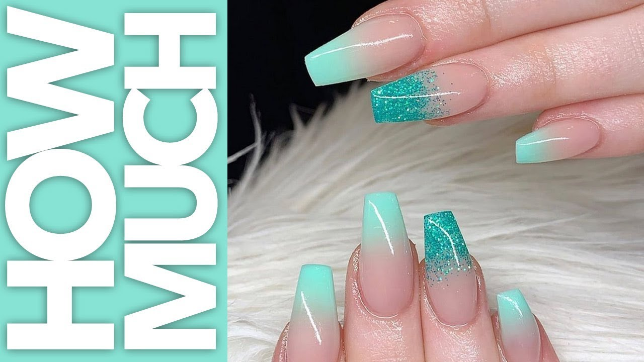 Blue Glitter Ombre Nails Shape Change Youtube