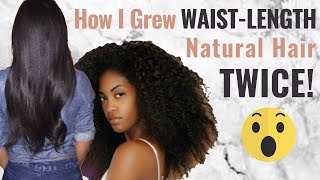 How I grew WAIST-LENGTH NATURAL hair TWICE as a LAZY NATURAL | HAIR GROWTH JOURNEY