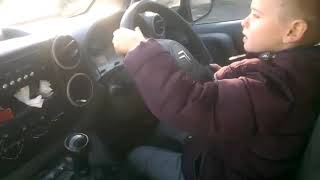 7 year old driving first time