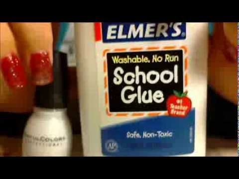 Review for Elmer\'s glue base coat for acrylic nails - YouTube