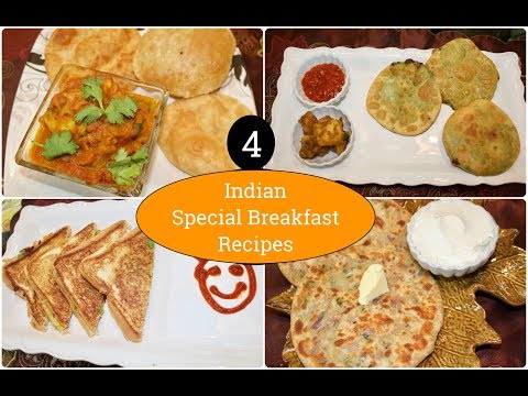 4 Indian Special  Breakfast Recipes | 4 Indian Breakfast Ideas | Simple Living Wise Thinking