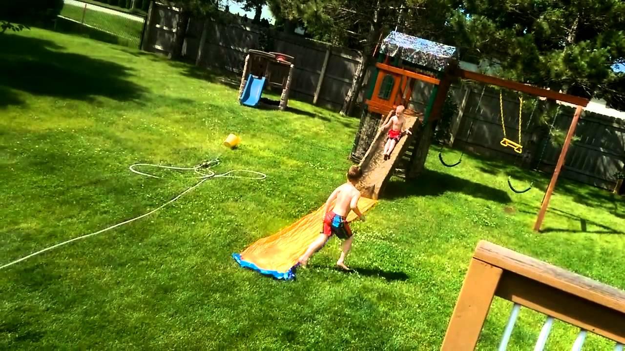 backyard water slide slip and slide youtube