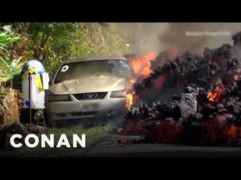 Unedited Footage Of The Car Being Eaten By Lava  - CONAN on TBS