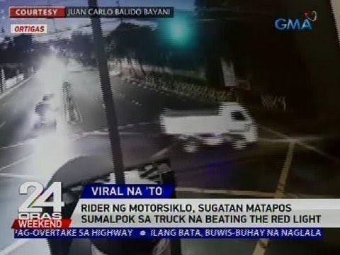 Rider ng motorsiklo, sugatan matapos sumalkpok sa truck na beating the red light