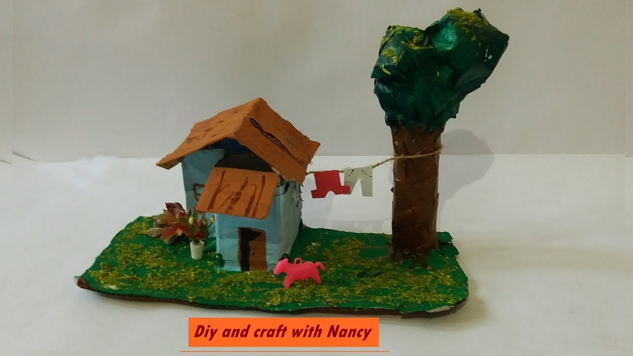 diy how to make village house showpiece
