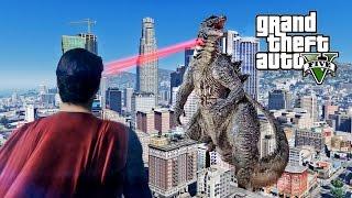 GODZILLA VS SUPERMAN DEATH BATTLE - GTA 5 MOD!
