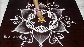 simple friday kolam designs with 5x3 dots - friday muggulu - latest rangoli designs