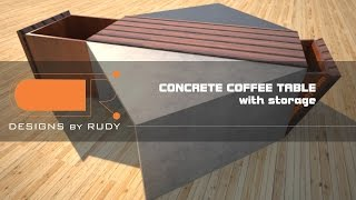 Concrete Coffee Table With Wood Center And Storage Bins