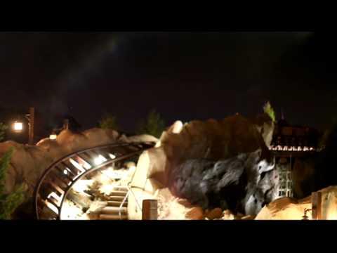 Seven Dwarfs Mine Train Ride Test Run at Night with Swinging Cars - Walt Disney World Magic Kingdom