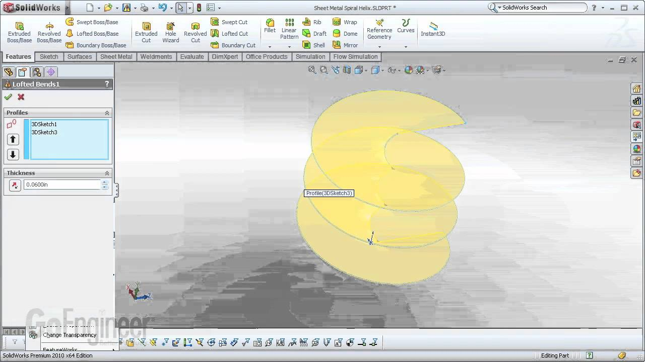 Solidworks Sheet Metal Spiral Helix Youtube