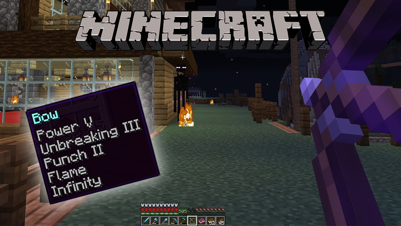 Minecraft Best enchantments for bow 122.1226.122 (Nether Update)