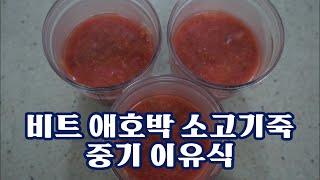 비트 애호박 소고기죽 만들기, 중기 이유식