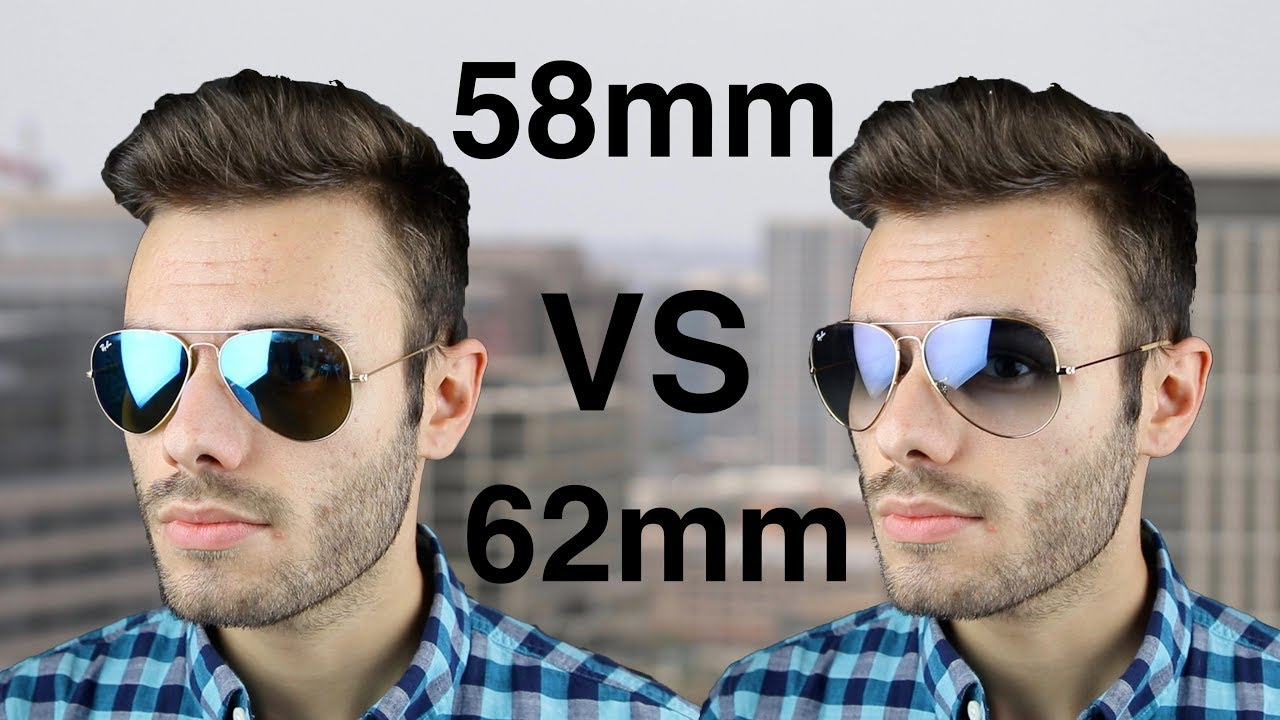 17fb4f84d2a Ray-Ban Aviator 58mm vs 62mm Size Comparison - YouTube