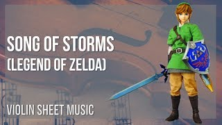 EASY Violin Sheet Music: How to play Song of Storms (Legend of Zelda) by Koji Kondo
