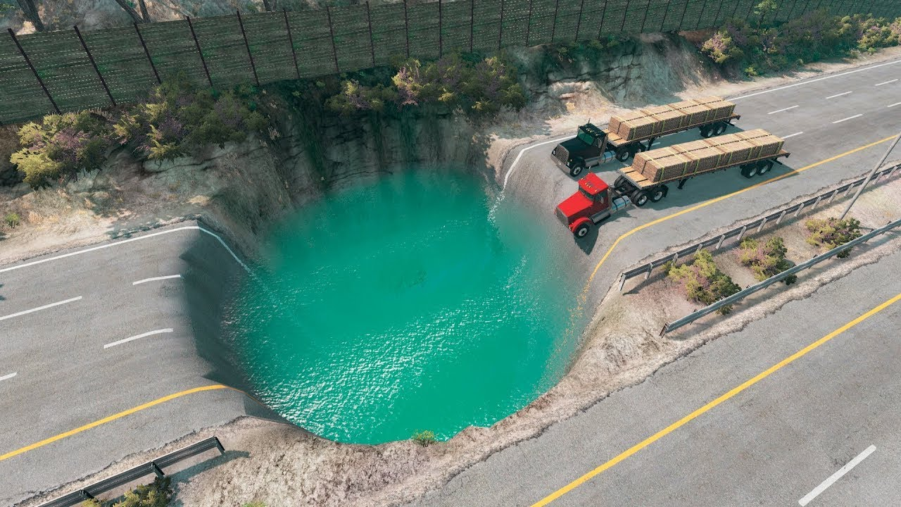 Cars vs Giant Pit - Water Potholes – BeamNG Drive