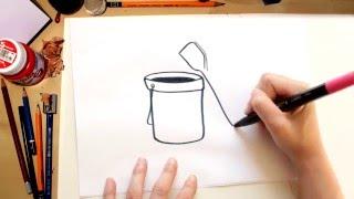 🌴💧☀Como dibujar un cubo de arena y palas - dibujos de verano