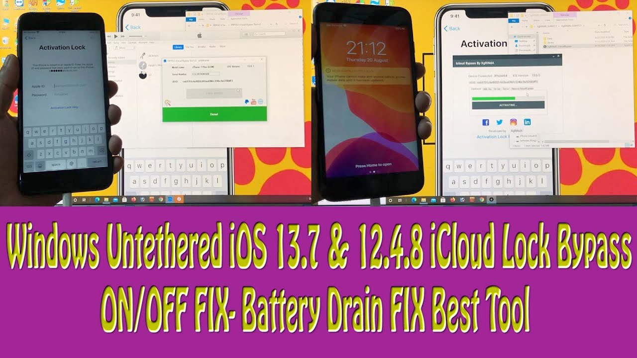 Windows Untethered iOS 13.7 & 12.4.8 iCloud Lock Bypass ON/OFF FIX- Battery Drain FIX Best Tool