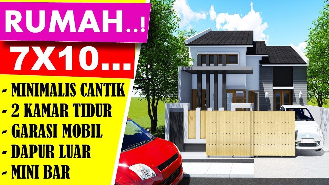 Desain Rumah Model Minimalis 7x10, 2 Kamar Tidur Cantik ...
