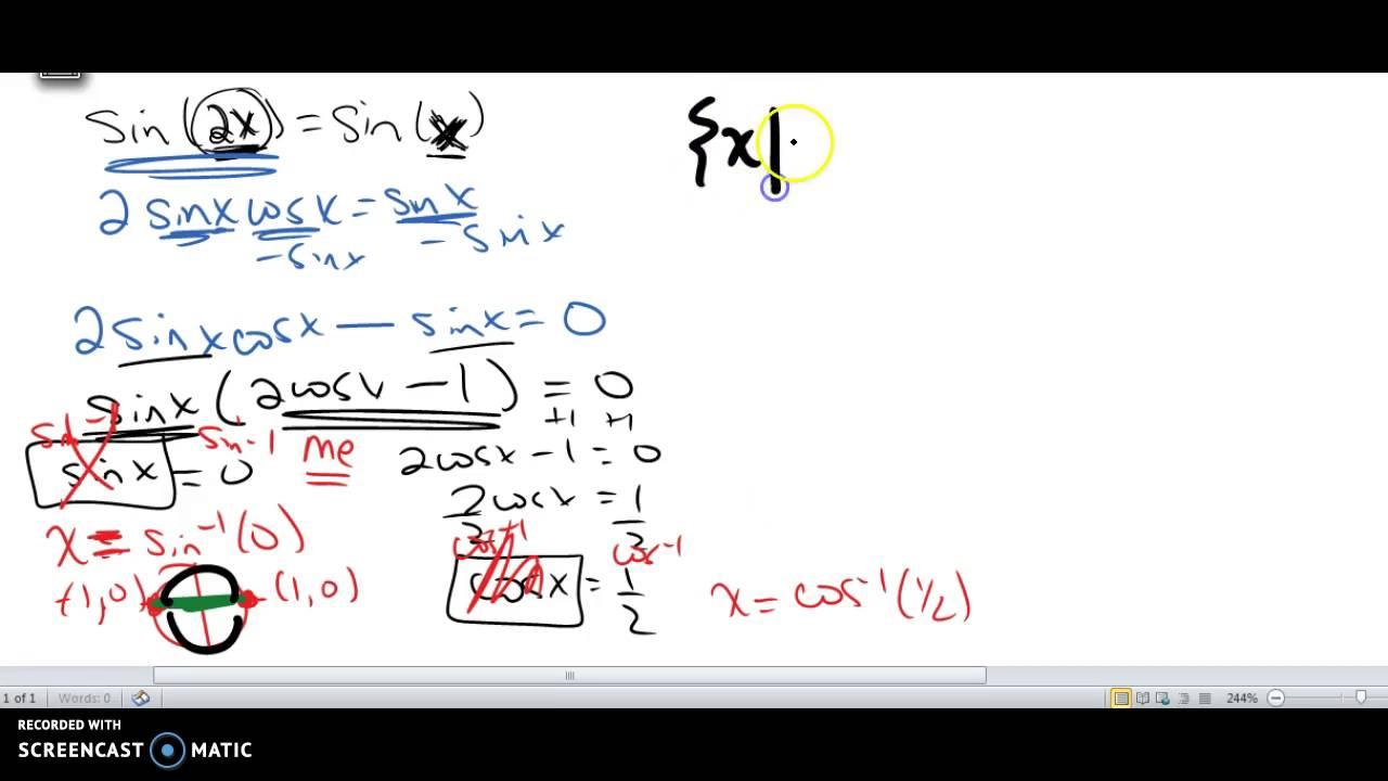 Trig equations, solve, sin(2x)=sin(x) - YouTube
