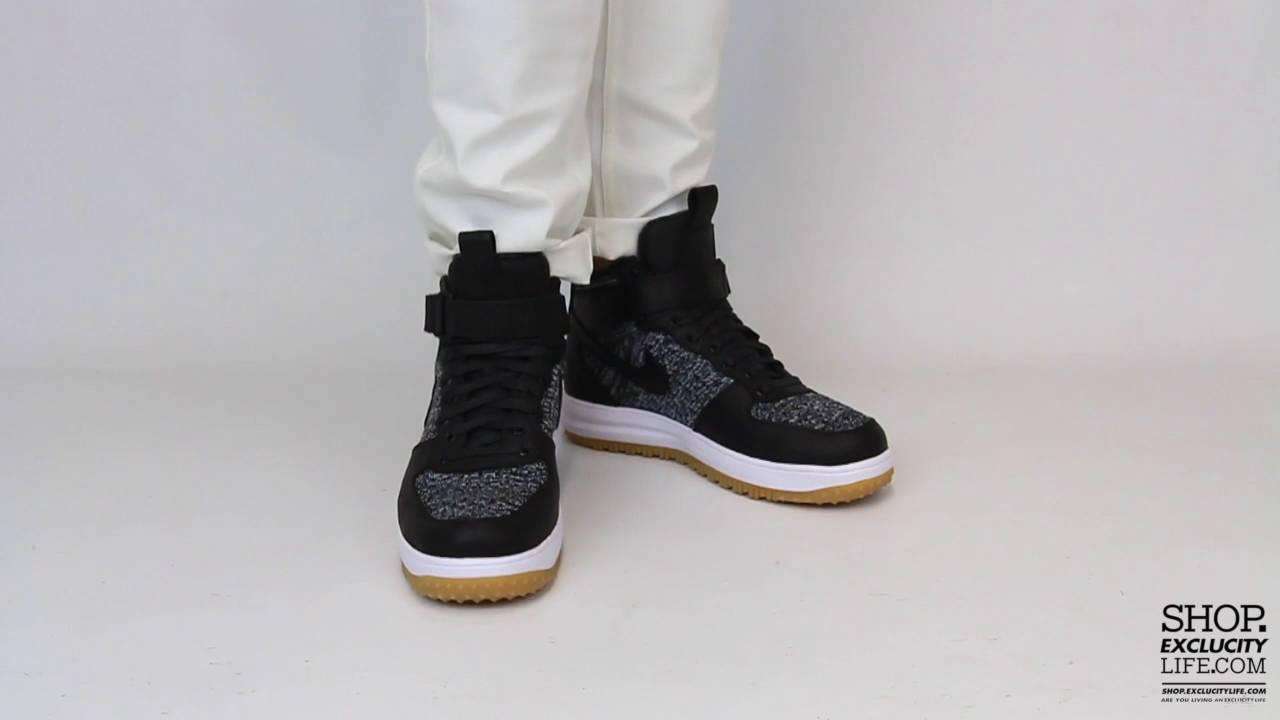 Nike Lunar Force 1 Mid Flyknit Workboot Black White On feet Video at