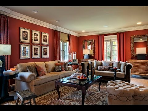 red living rooms wall paint furniture ideas - YouTube