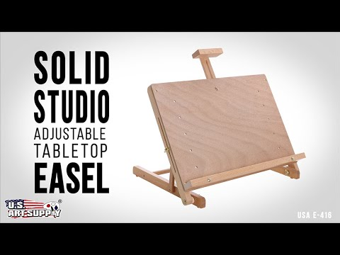 US Art Supply Solid Studio Adjustable Wood Desktop Table Easel