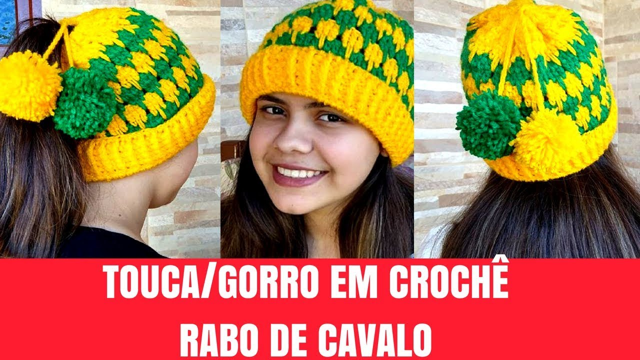 TOUCA GORRO ADULTO EM CROCHÊ RABO DE CAVALO 93fed7a6c2d