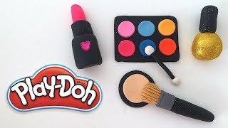 DIY Play-Doh Learn Make Makeup Set Eyeshadow Lipstick Brush Toy Soda