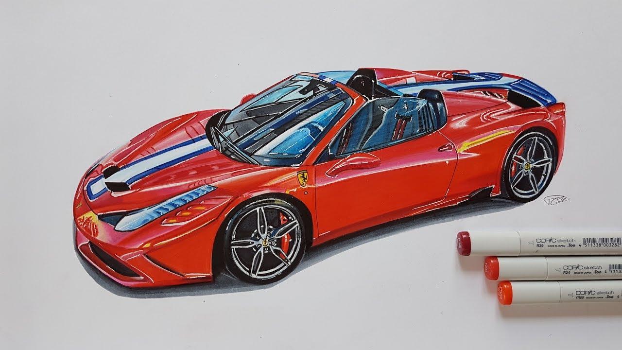 ferrari 458 speciale aperta realistic car drawing - youtube