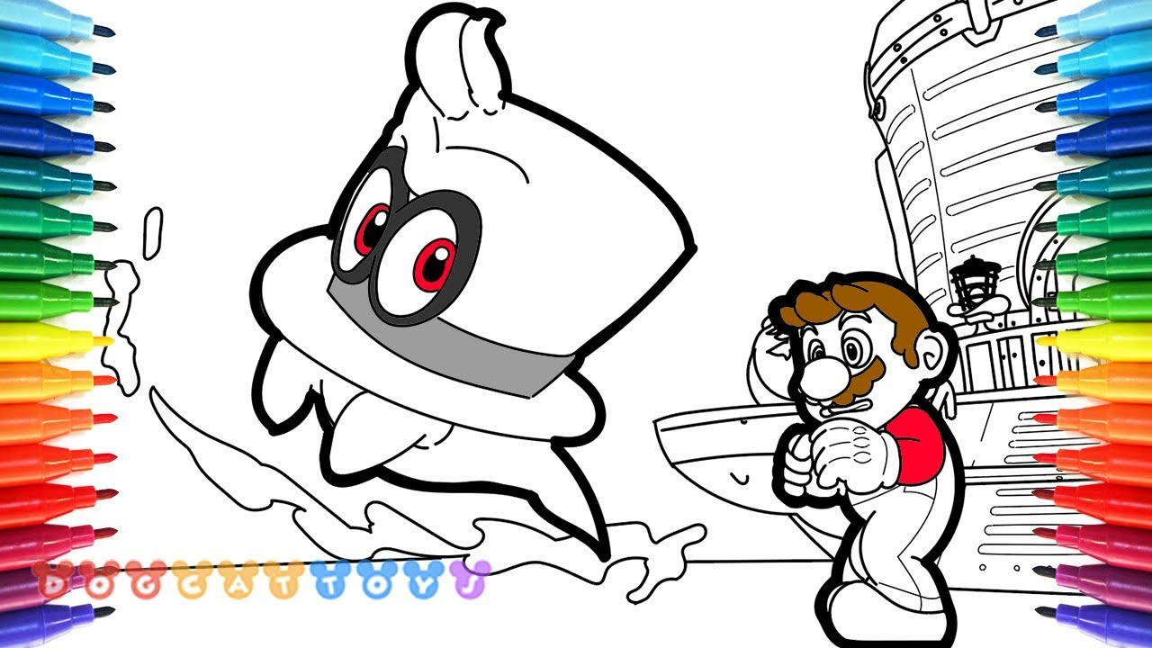 How to Draw Mario Odyssey Mario Cappy 45 Drawing
