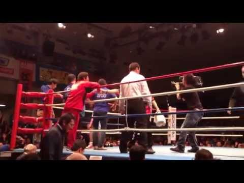 【ロバート山本】ボクシング プロデビュー戦 KOシーン(4ラウンド)【ボクシング試合】