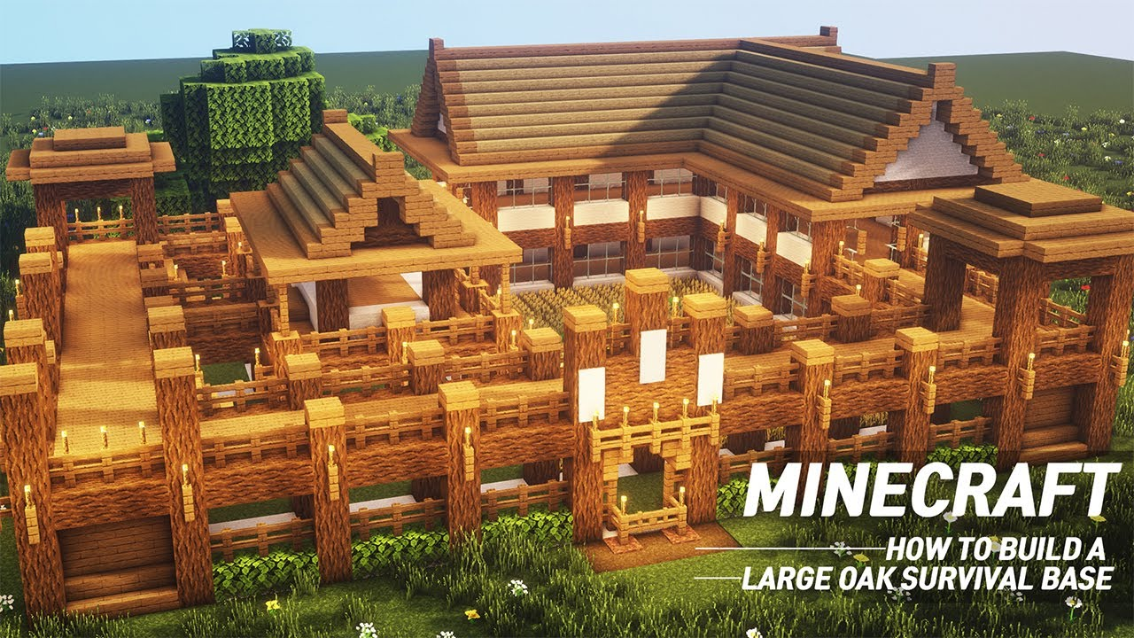 Minecraft Large Oak Survival Base Tutorial How To Build In Minecraft 57 Youtube
