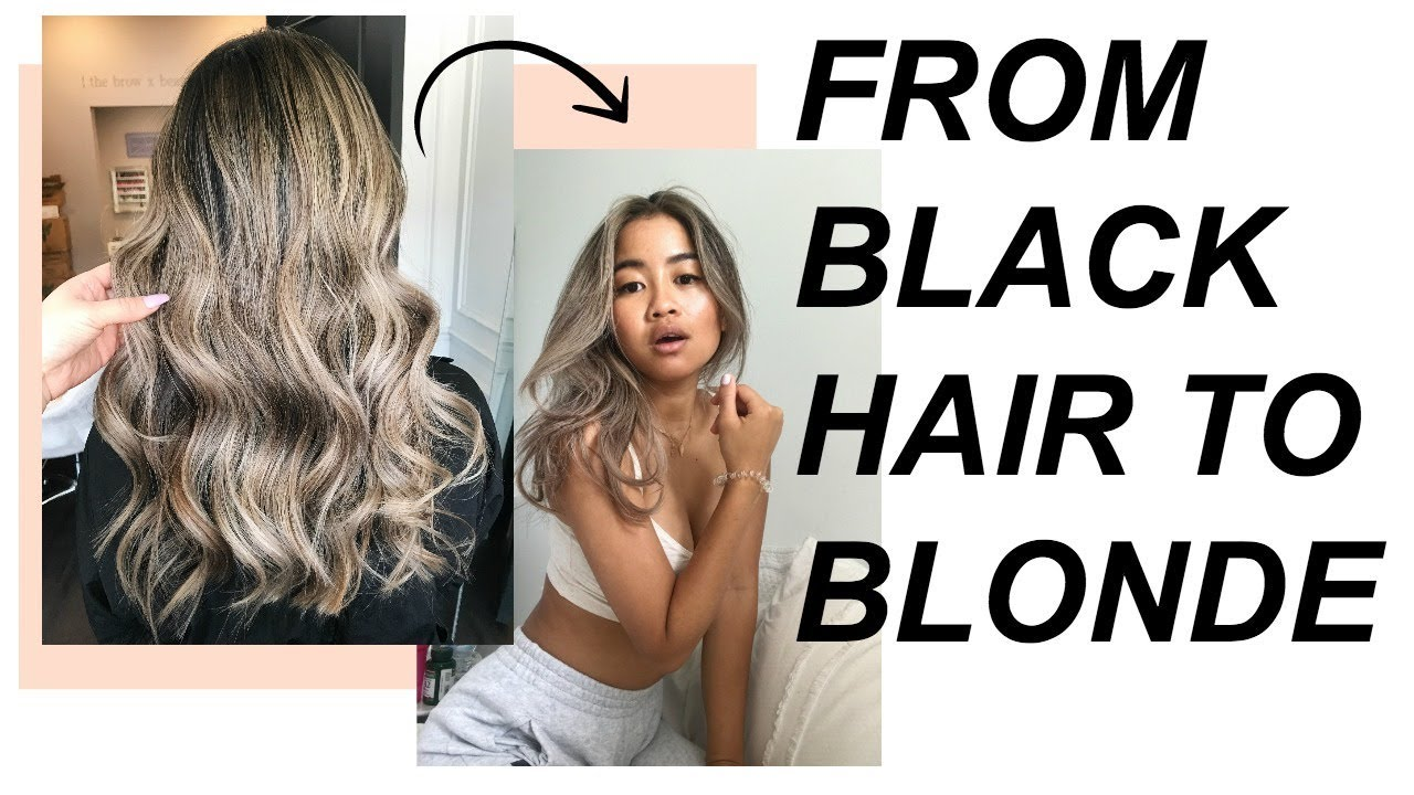 2 years laterhow I went from BLACK HAIR to BLONDE balayage! (before +  after pics)