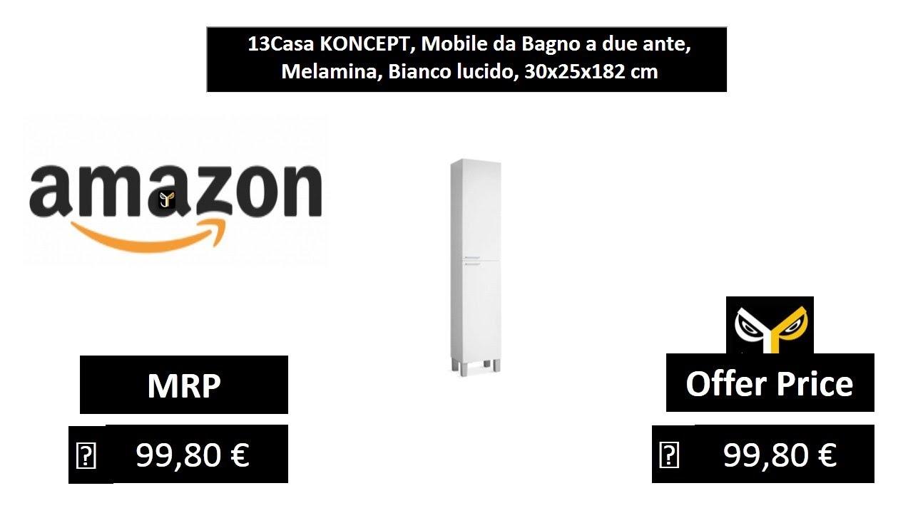 13Casa KONCEPT, Mobile da Bagno a due ante, Melamina, Bianco lucido,  30x25x182 cm