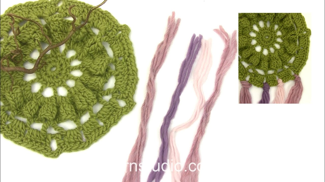 How To Crochet The Hexagon Dream Catcher With Fringes In Drops Extra