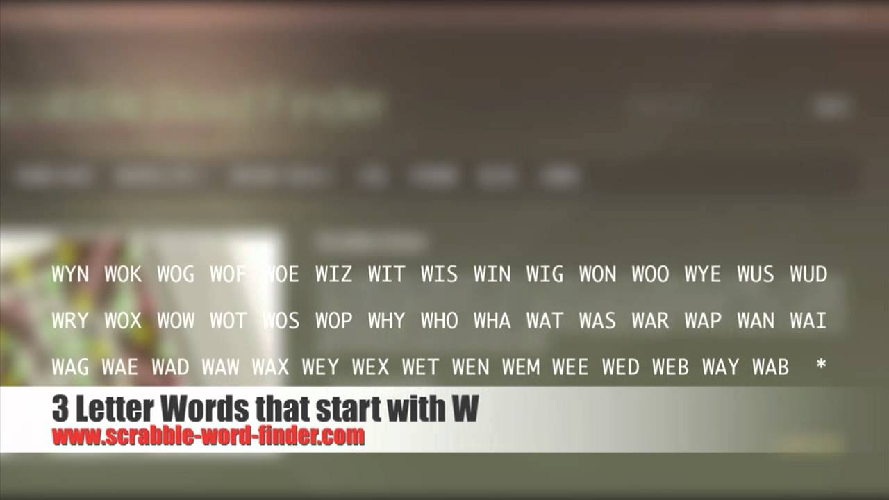 3 letter words that start with W   YouTube