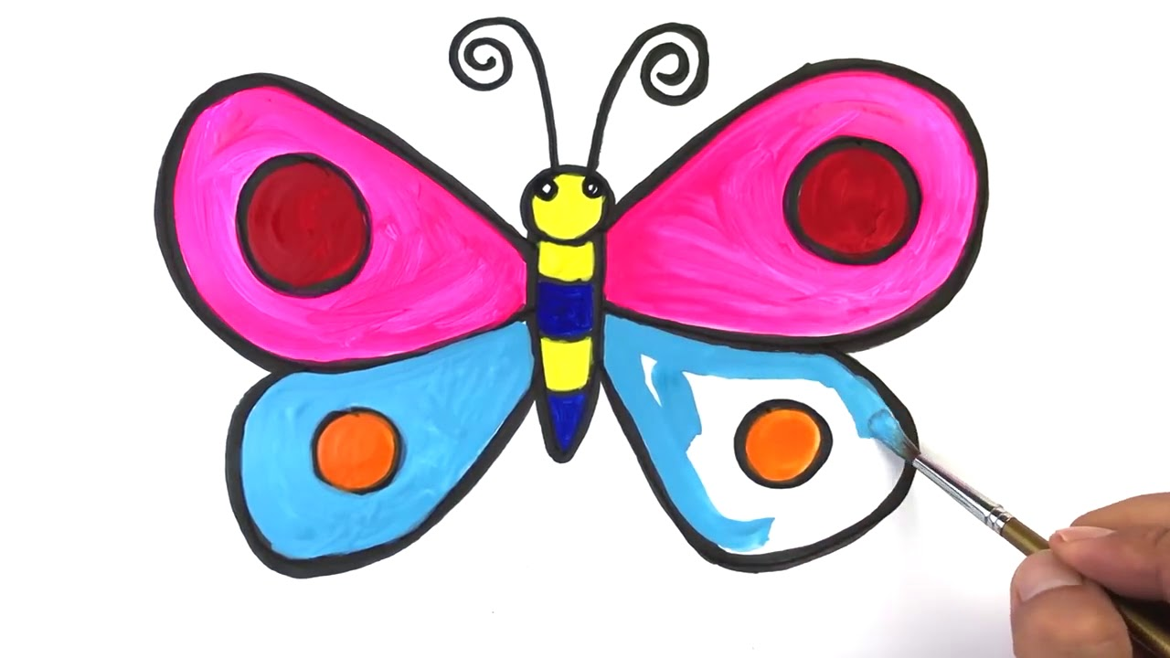 Pariltili Kelebekler Gokkusagi Renkleri Ogrenin Kelebek Boyama