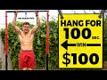 Hang For 100 Seconds Win $100 Challenge (we build our own bar)