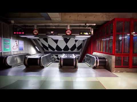 Sweden, Stockholm, Kungsträdgården subway station, 4X elevator , 9X escalator