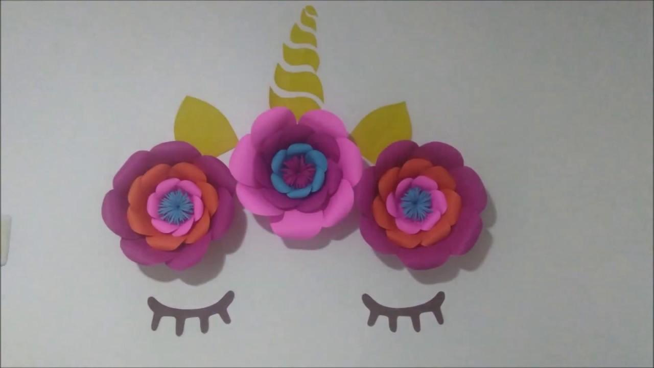 Como Fazer Flor Gigante De Papel Festa Unicornio Youtube