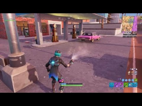 Fortnite - Spray Different Gas station - Closest Gas Station Location  (Spray & Pray Challenge)