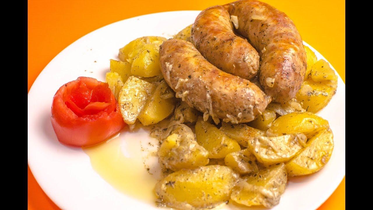 Купаты с картошкой в духовке рецепт | картошка с мясом в рукаве со сметаной