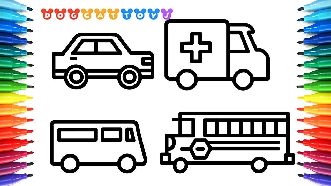 How To Draw Car Truck Ambulance Bus For Kids With Colored