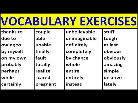 ENGLISH VOCABULARY EXERCISES. VOCABULARY WORDS ENGLISH LEARN WITH MEANING. ENGLISH WORDS