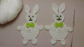 Урок вязания крючком ЗАЙЧИКОВ. вязаная аппликация ЗАЙЧИК. Application RABBIT Crochet