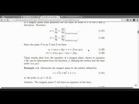 Partial derivatives: the tangent plane to a surface