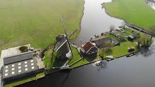 Windmill near Warmond with drone