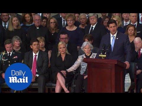 Paul Ryan gives touching eulogy for Senator John McCain